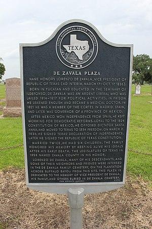 Lorenzo de Zavala - Plate of Lorenzo de Zavala, in De Zavala Plaza, Harris County, Texas Historical Marker