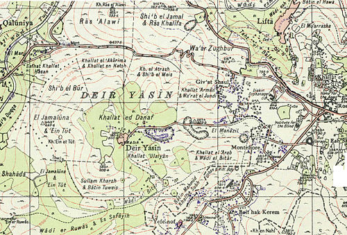 Map showing Deir Yassin and surrounds in 1948 DeirYassin1948.jpg