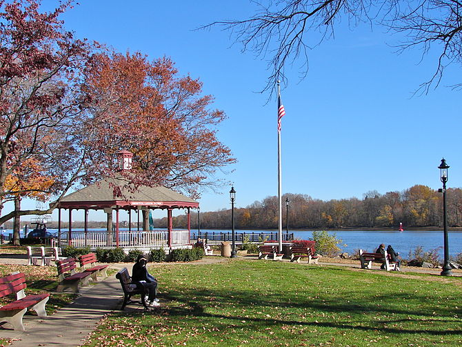 Lions Park and riverfront in Bristol, Pennsylvania