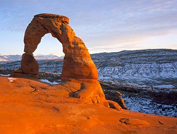 The Delicate Arch, a natural arch near Moab, Utah
