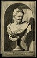 Democritus. Line engraving by (A. H.). Wellcome V0001528.jpg