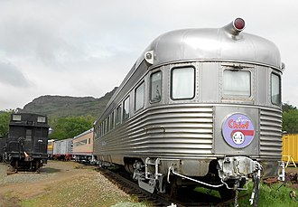 Super Chief - Sleeper-lounge-observation Navajo at the Colorado Railroad Museum in 2012. Note the Super Chief drumhead on the rear of the car.