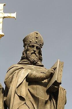 Detail of Saint Cyrill statue in Třebíč, Třebíč District.jpg