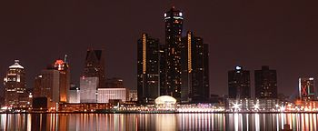 Skyline along the Detroit International Riverfront