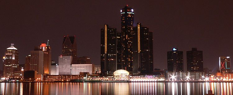 Detroit International Riverfront at night during the Season of Super Bowl XL.