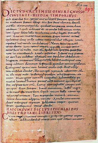 Dictys Cretensis - The beginning of the «Ephemeris belli Troiani» ascribed to Dictys Cretensis in a manuscript of the Abbey of Saint Gall: St. Gallen, Stiftsbibliothek, Cod. Sang. 197, page 1 (late 9th century)