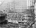 Digging of the foundation and initial foundational framework at the Smith Tower construction site, Seattle, Washington, January (SEATTLE 4908).jpg