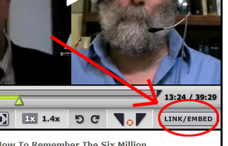 Bloggingheads.tv - Button used to direct link to a relevant part of the video or to embed video in another website.
