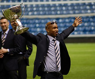 Joof family - El-Hadji Diouf. Professional footballer. Pictured after winning the Scottish League Cup with Glasgow Rangers.