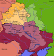 Map of the drainage basin of the Dnieper.