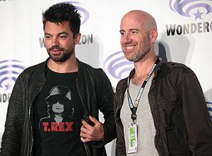 Preacher (TV series) - Dominic Cooper (left) and Sam Catlin (right) promoting Preacher at the 2016 WonderCon California