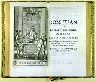 Dom Juan - Title page for Dom Juan ou le Festin de pierre – the censored version – with illustration of the statue at the feast. From posthumous works of Molière, 1682.