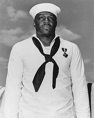 Doris Miller - Miller with his Navy Cross