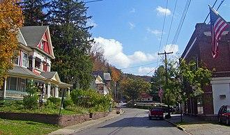 Fleischmanns, New York - Main Street and Halcott Road downtown