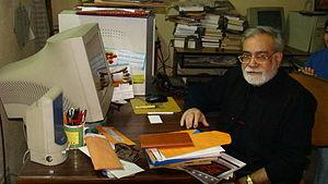 Narendra Kohli - Kohli at his writing table, New Delhi (2008)