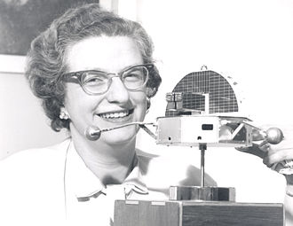 Nancy Roman - Nancy Roman with a model of the Orbiting Solar Observatory