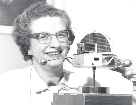 Roman with a model of the Orbiting Solar Observatory in 1962. Dr. Nancy Roman - GPN-2002-000212.jpg