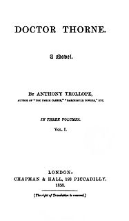 <i>Doctor Thorne</i> book by Anthony Trollope