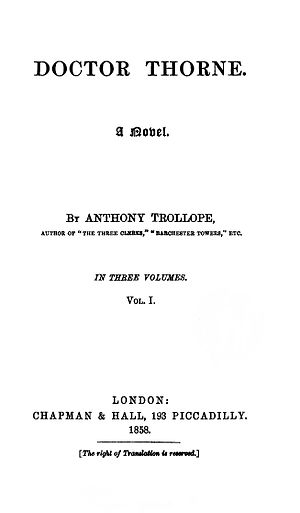 Doctor Thorne - First edition title page.