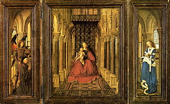Dresden Marienaltar: open wings with Madonna enthroned