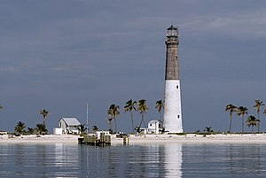 Loggerhead Key - The Dry Tortugas Light on Loggerhead Key, with two surrounding buildings