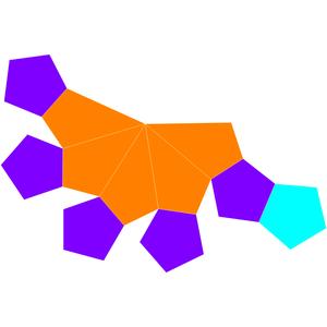 Gyroelongated pentagonal pyramid - Image: Dual gyroelongated pentagonal pyramid net