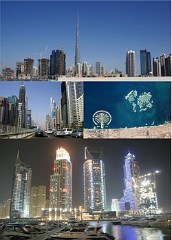 Clockwise from top: Sheikh Zayed road; Dubai Marina; satellite image showing Palm Jumeirah and The World Islands; and skyline with Burj Khalifa.