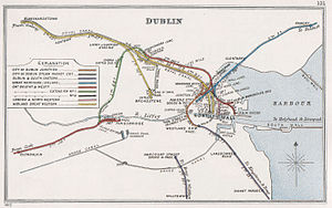Transport in Dublin - 1912 rail network map from the Railway Clearing House