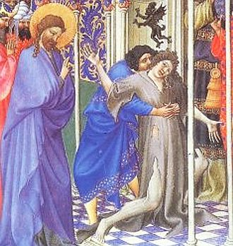 Unclean spirit - Jesus drives out a demon or unclean spirit, from the 15th-century Très Riches Heures