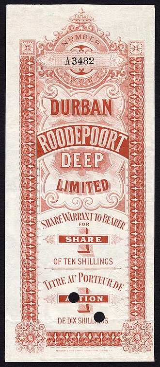 DRDGOLD Limited - Share warrant for Durban Roodeport Deep Limited. c. 1890s.