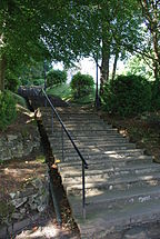 A picture showing the chapel steps which form a key part of the war memorial, one step for every old boy who died in World War I