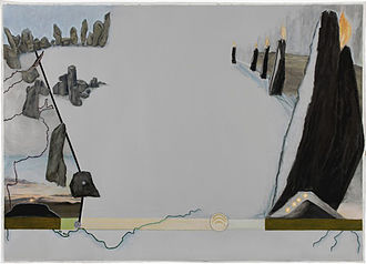 """Jo Baer - Dusk (Bands and End-Points) (2012) was part of the exhibition """"In the Land of the Giants"""" at Stedelijk Museum, Amsterdam"""