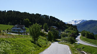 European route E39 - E39 bend at Anda near Sandane Airport