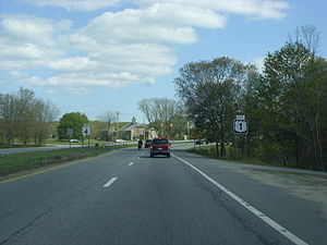Rhode Island Route 4 - Route 4 approaching its southern terminus at US 1 in North Kingstown
