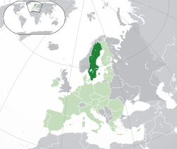 Ibùdó ilẹ̀  Swídìn  (dark green)– on the European continent  (light green & dark grey)– in the European Union  (light green)  —  [Legend]