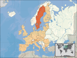 Location o  Sweden  (orange)– on the European continent  (camel & white)– in the European Union  (camel)                  [Legend]