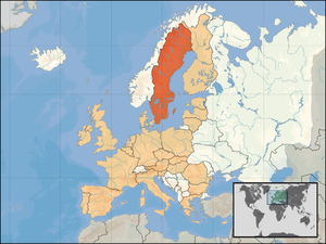 Location of Sweden within Europe and the Europ...