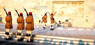 Presidential Guard (Greece) - Evzones with the summer everyday ceremonial uniform