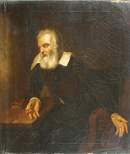 "Portrait, attributed to Murillo, of Galileo gazing at the words ""E pur si muove"" (And yet it moves) (not legible in this image) scratched on the wall of his prison cell E pur si muove.jpg"