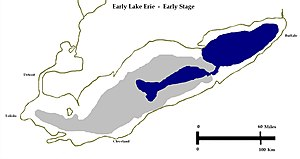 Early Lake Erie - Early or Low Level Stage of Early Lake Erie. Herdendorf, 2013.  Gray is deep water basin, blue is Early Lake Erie.