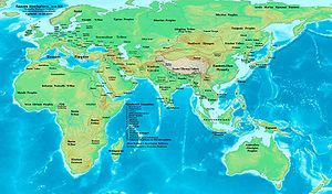 1st century - Eastern Hemisphere in AD 100, at the end of the first century