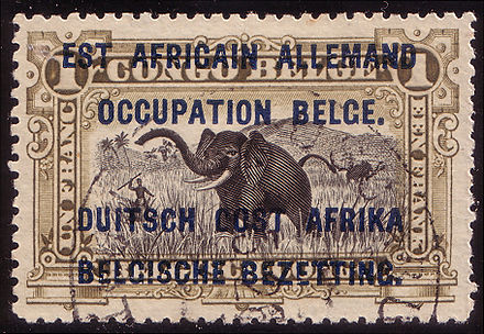 A 1916 postage stamp from the Belgian Occupied East African Territories, captured during the East African Campaign in World War I Eastafrikaoccupation1916.jpg