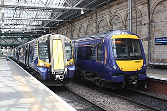 Abellio ScotRail - Image: Edinburgh Abellio 380107 and 170419