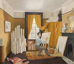 Edward bawden working in his studio