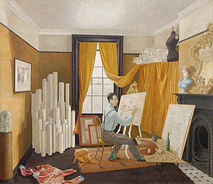 Edward Bawden - Painting of Bawden in his studio, by Eric Ravilious, 1930