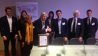 Edward Shotter - The Very Reverend Edward Shotter (4th from left) receiving his Beecher Award on 9 December 2016, following the 2016 Lewis Headley Public Lecture at the Royal Society of Medicine, London