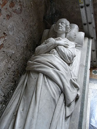 William Courtenay, 11th Earl of Devon - Effigy of Elizabeth, Countess of Devon (d. 27 Jan 1867), on chest tomb,  by Edward Bowring Stephens (1815-1882) in St Clement's Church, Powderham, against the east wall of the south transept. A  plaster-cast exists the chapel attached to Powderham Castle