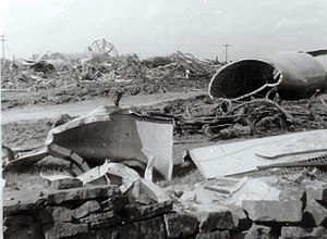 Emley Moor transmitting station - Wreckage of the Emley Moor Mast, which collapsed in March 1969, strewn across fields.