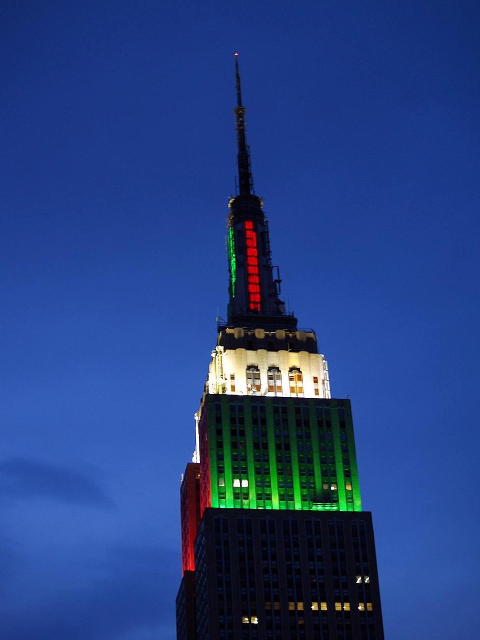 Empire State Building Red and Green
