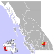 Location of Enderby in British Columbia